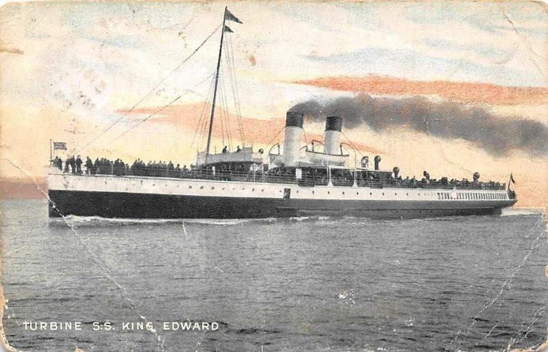 Turbine S.S King Edward, Ship, Pictorial Postcard 1905