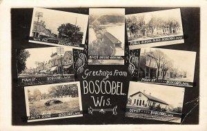 Boscobel Wisconsin~Multi View~Main Street~Covered Bridge~Depot~School~1912 RPPC