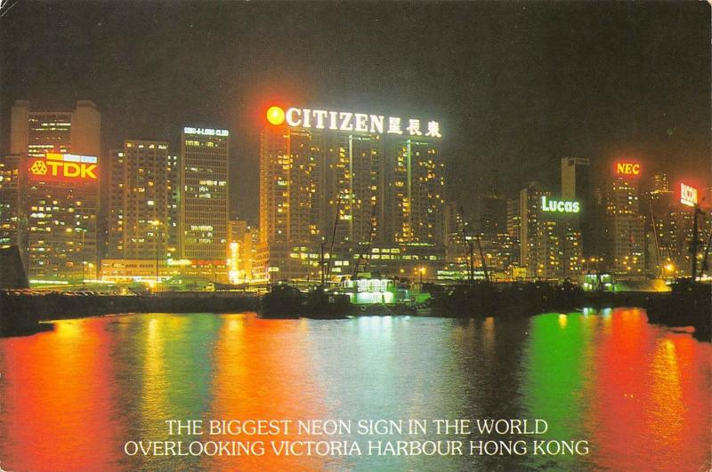 HONG KONG China 1970s Postcard Biggest Neon Sign In World Victoria Harbour
