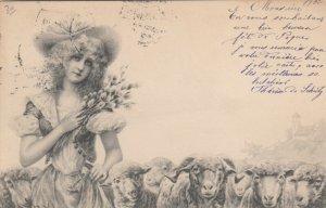 M.M.VIENNE : Woman & Sheep by R.R.v.Wichera , 1904