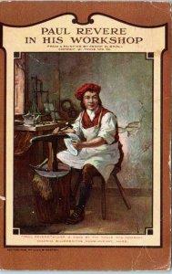 SAN BERNARDINO, CA  AD CARD PAUL REVERE in WORKSHOP c1911  Postcard