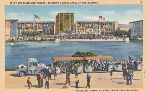 Elephant Train and Federal Building Across Lakes Of Nations California World'...