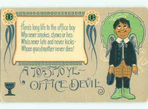 Pre-Linen MAN WITH ANGEL WINGS IS THE OFFICE DEVIL AC3943