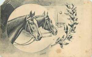 Horses signed P. Dienst postcard