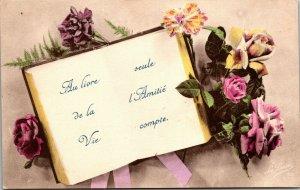 Vintage FRENCH Postcard - AU LIORE DE LA VIE - FLOWERS - RARE ARTIST SIGNED