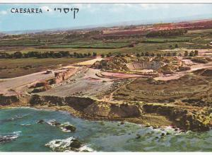 Bird's Eye View, At The Foreground The Excavated Roman Theatre, CAESAREA, Isr...