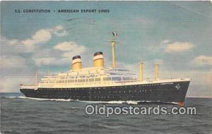 SS Constitution American Export Lines Ship Postcard Post Card 1952