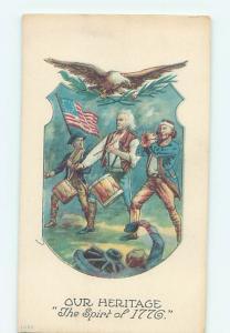 Pre-Linen patriotic EAGLE & USA FLAG - SPIRIT OF 1776 PAINTING POSTCARD HJ2933
