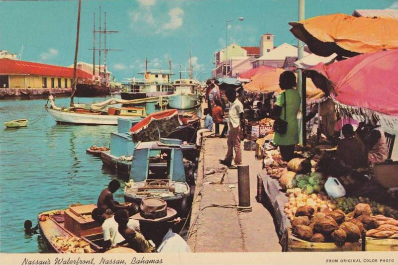 Nassau´s Water Front, Native fruits and vegetable markets Nassau, Bahamas, 5...