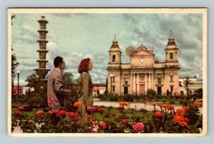 Guatemala, Cathedral, Flowers, Linen c1950 Postcard