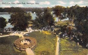 Muskogee Oklahoma~Hyde Park Birdseye View~Pergola~Gazebo~Paths~1912 Postcard