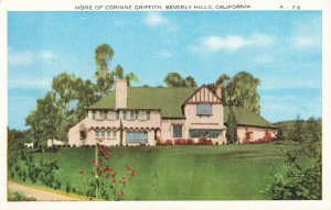 Postcard Home of Corinne Griffith Beverly Hills California