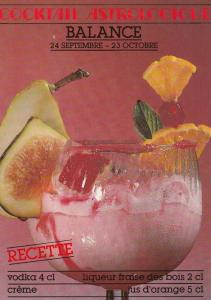 Libra Astrology Astrological Alcohol Cocktail Recipe French Postcard