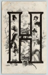 Large Alphabet Letter H~Lovely Ladies~Wild Roses~Rotograph Series~1907 ZIM B&W