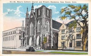New Haven Connecticut~St Marys Catholic Church And Priests Residence~1936 PC