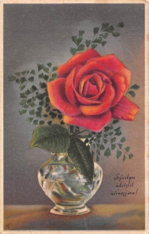 Szivelyes udvozlet Nevnapjara! Rose Vase, Name day Greetings!
