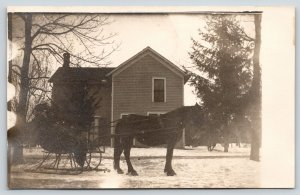 Real Photo Postcard~Horse Drawn Snow Sleigh by Farm House~c1910 RPPC