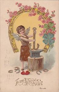 Valentine's Day Cupid With Gold Horseshoe and Anchor 1908 Signed Garnett