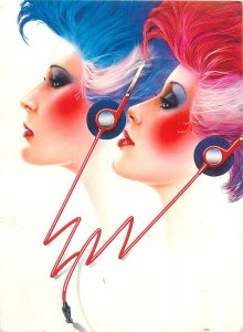Postcard graphic red and blue wigs stereo headphones