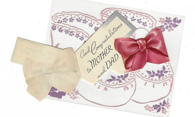 Clear Plastic New Baby Greeting Card w Diecat Paper Fold Out Vintage 1950s