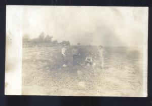 RPPC BEARDSTOWN ILLINOIS PUMPKIN FARM FARMING BUSHNELL ILL REAL PHOTO POSTCARD