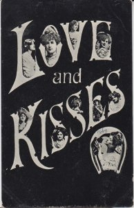 LOVE & KISSES  - VICTORIAN WOMEN on Postcard 1907 / ARCADIA IND