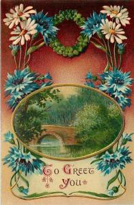 Arch Bridge in Oval Frame~Art Nouveau Daisies~Bachelor Buttons~Red to Tan Fade