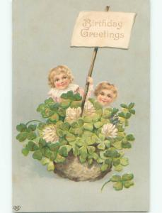Pre-Linen KIDS SIT IN BASKET OF LUCKY FOR LEAF CLOVERS J3152