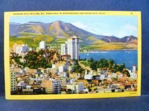 Postcard CA San Francisco Russian Hill Skyline Vintage Linen