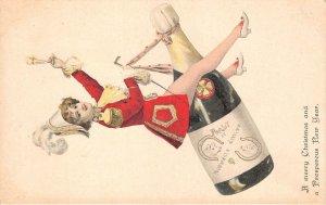 uk40809 merry christmas new year greetings uk pig champagne   fantasy