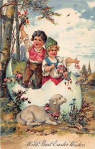 Easter Greetings Girl Boy Egg Shell Sheep PFB Publisher Embossed Postcard