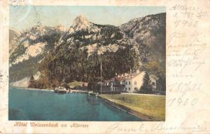 Weissenbach am Attersee Austria birds eye view hotel lake antique pc Z28561
