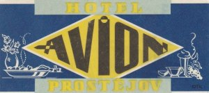 Czechoslovakia Prostejov Hotel Avion Vintage Luggage Label sk4434