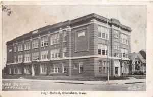 Cherokee Iowa~High School~Decorative Vines on Building @ Doorway~1920s Postcard