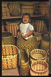 USA Cherokee Indian Baby in a Basket Cherokee Rerservation NC