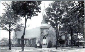 RPPC  LUDINGTON, Michigan MI   COMMUNITY CHURCH  ca 1940s Real Photo  Postcard