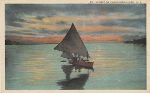 Sunset on CHAUTAUQUA LAKE, New York, 1900-1910s; Sailboat