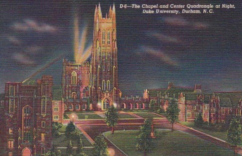 North Carolina Durham The Chapel and Center Quadrangle At Night Duke Universi...