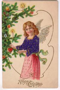 Xmas Card, Angel with Sweater & Xmas Tree