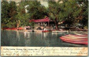 Columbus, Ohio Postcard The Boat Landing, Olentangy Park 1907 OH Cancel