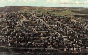 Oil City Pennsylvania Birdseye View Residential Antique Postcard K51371