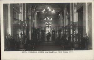 New York City Hotel Manhattan Interior c1905 Real Photo Postcard #8