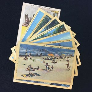 Cape Cod Mass Mostly Curteich Posted Unposted House Fishing Boats Beach Lot of 9