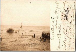 RPPC Sailboat Along Shoreline Croatan NC c1908 Vintage Postcard W20