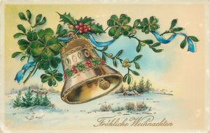 Postcard Greetings winter bell leaves luck village snow house decoration