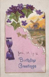 Happy Birthday With Purple Flowers and Windmill 1912
