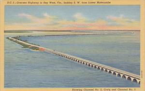 Florida Key West Oversea Highway To Key West Loking S W From Lower Matecumbe ...