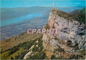 Postcard Modern Landscapes Savoie Cross Nivolet (1553 m) and Lake Bourget