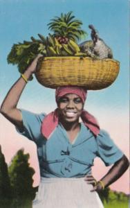 Jamaica Beautiful Peasant Girl Carrying Fruit