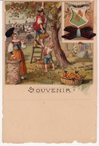 Chromo 1890s Chocolat Suchard Advertising Switzerland Thurgovie Crest Frauenfeld